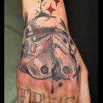 Back Of Hand Trooper Helmet Star Wars tattoo by Live Two