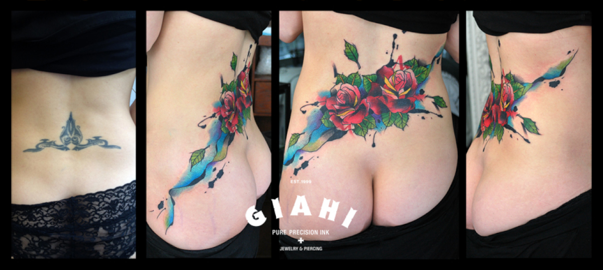 Back Roses tattoo by Live Two