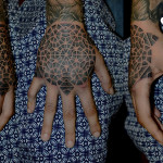 Back of Hand Dotwork Kaleidoscope tattoo by Andy Cryztalz