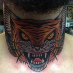 Back of Nech Old School tiger tattoo by Nick Baldwin