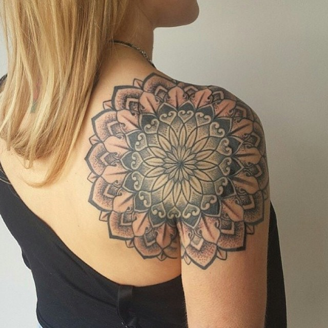 Back of Shoulder Mandala Dotwork tattoo by Niall Shannon