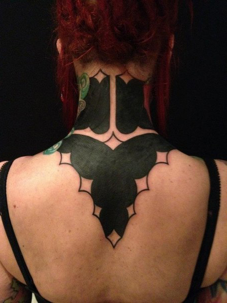Back of the Neck Clouds Blackwork tattoo