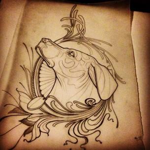 Baroque Dog tattoo idea by Jef Small