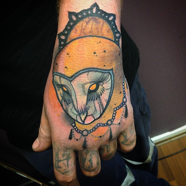 Baroque Owl tattoo on Back of Hand by Jef Small