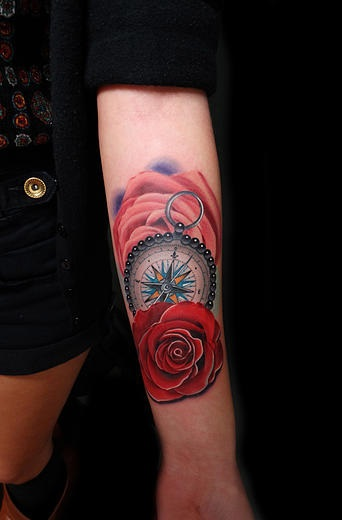 Beads Compass and Roses tattoo by Andres Acosta