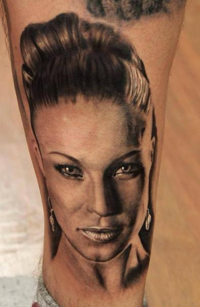 Beautiful Girl Face Realistic tattoo by Georgi Kodzhabashev