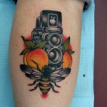 Bee Video Camera New School tattoo by Three Kings Tattoo