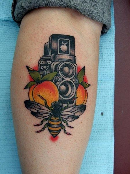 American traditional bee tattoo