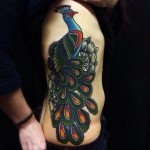 Belly Side Old School Peacock tattoo by Matt Cooley