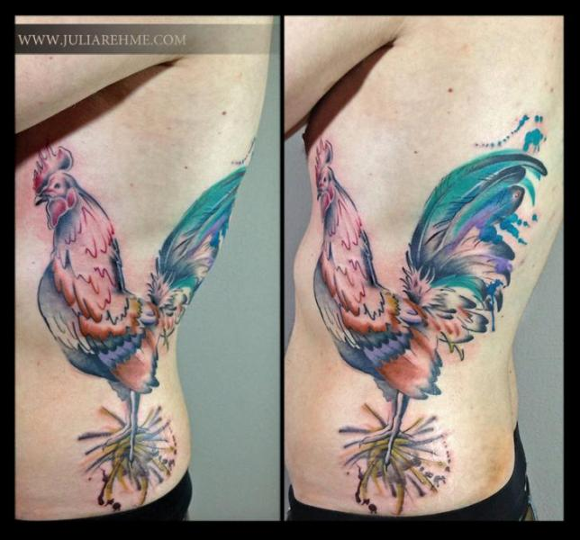 Belly side rooster aquarelle tattoo by julia rehme best for Funky rooster tattoo and art gallery