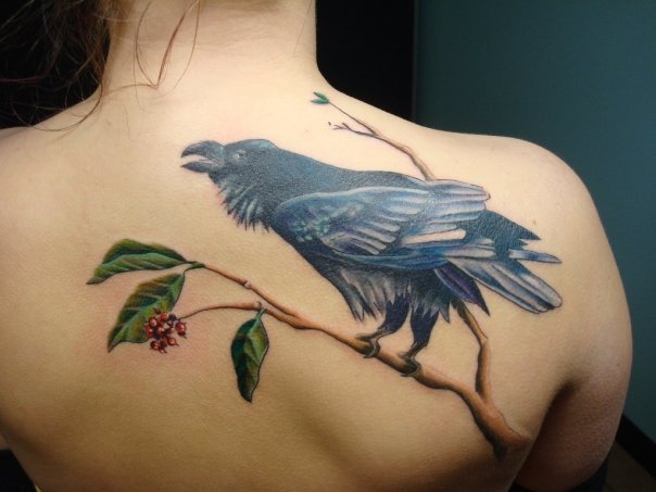 Berries and Raven Realistic tattoo by Tantrix Body Art