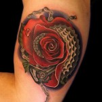 Bicycle Rocycle Rose tattoo by Andres Acosta