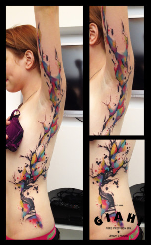 Big Paint Splash Tree Aquarelle tattoo by Live Two