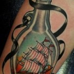 Big Ship in a Bottle Nautical tattoo