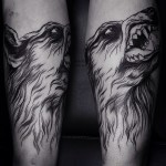 Big Teeth Angry Wolf Blackwork tattoo by Dmitriy Zakharov