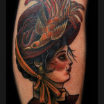 Bird Aged Lady tattoo by Jack Gallowtree