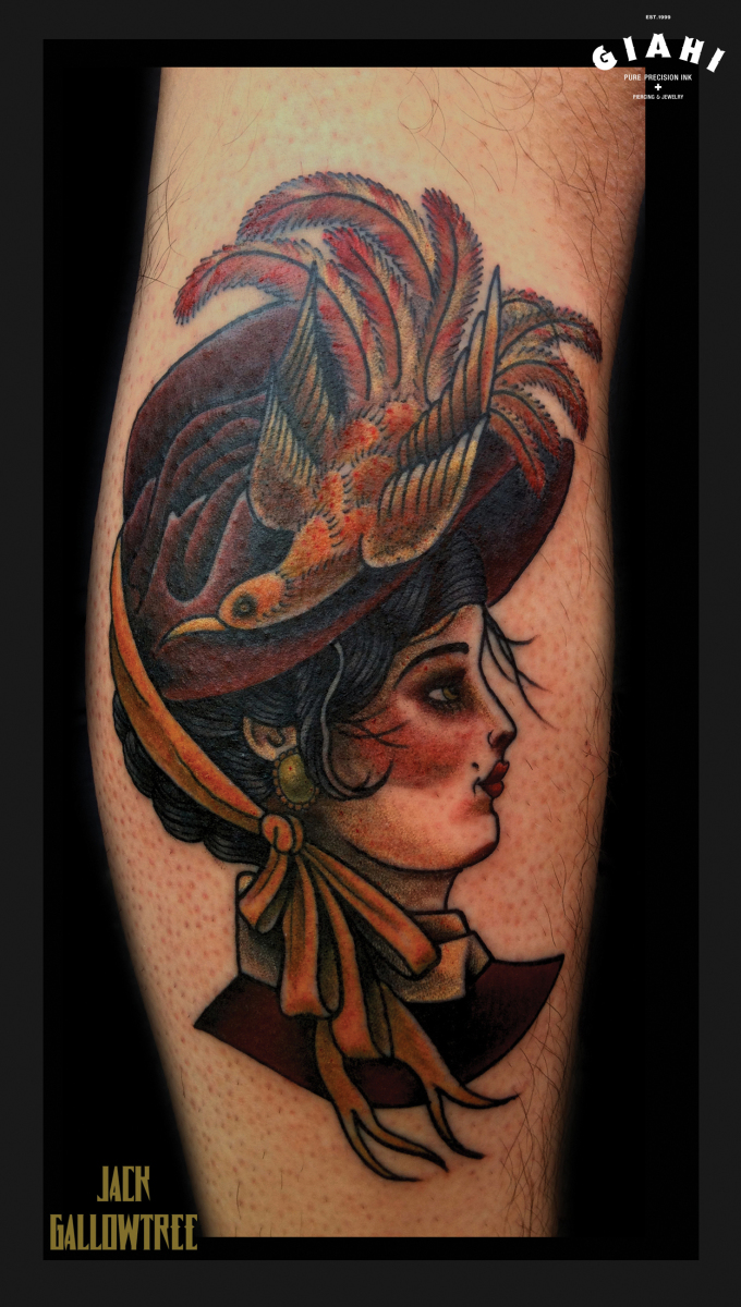 Bird Aged Lady tattoo by Jack Gallowtree