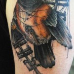 Bird in Wires Realistic tattoo