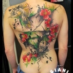 Bird Red Flowers and Tree tattoo by Live Two
