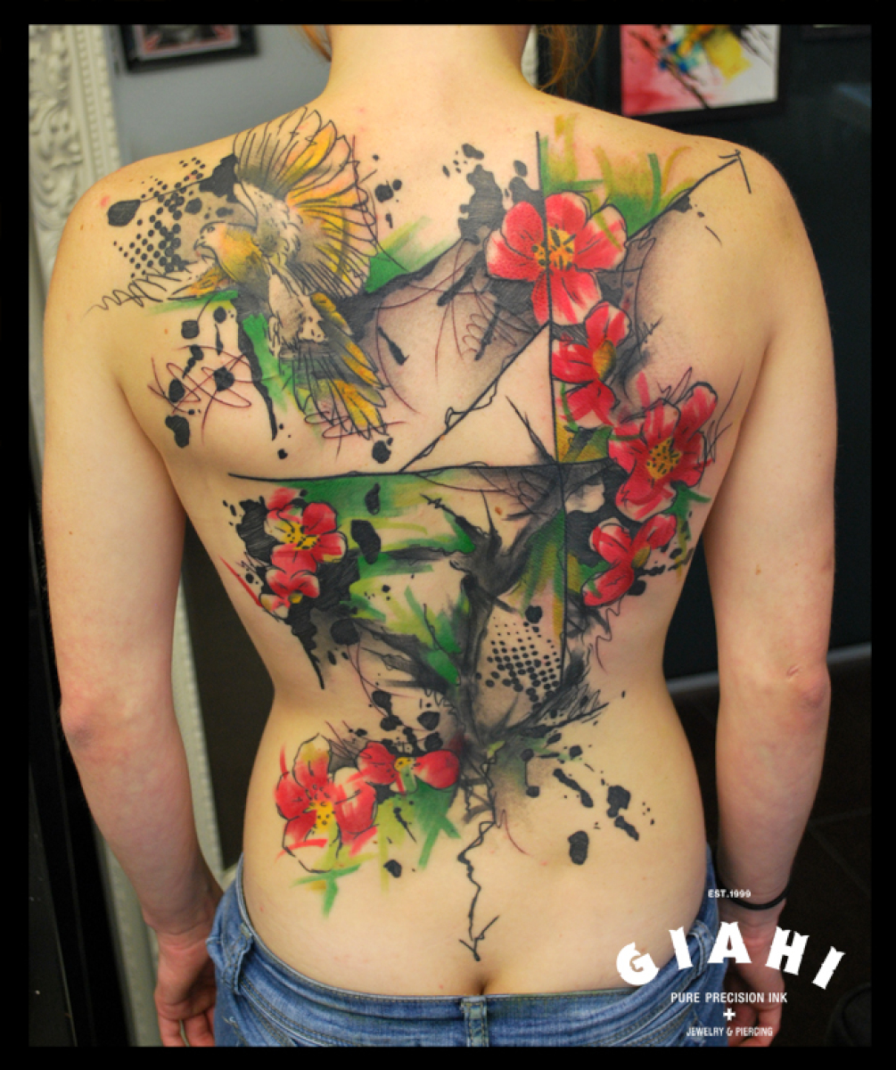 Bird red flowers and tree tattoo by live two best tattoo for Red flower tattoo