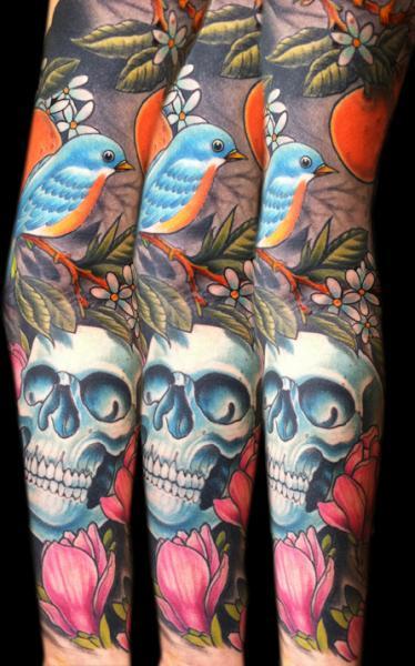 Bird Scull and Lotus tattoo sleeve by Three Kings Tattoo