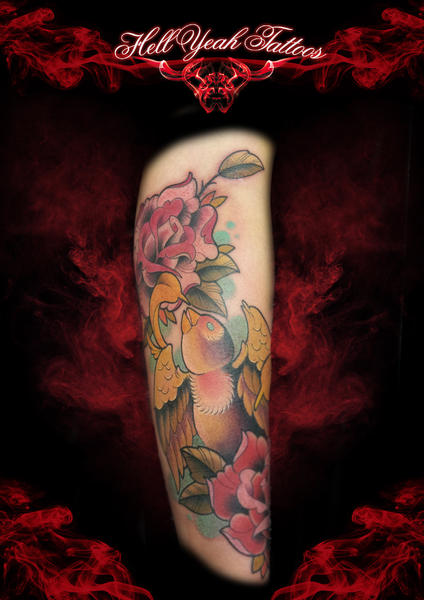 Bird and Flowers tattoo by Hellyeah Tattoos