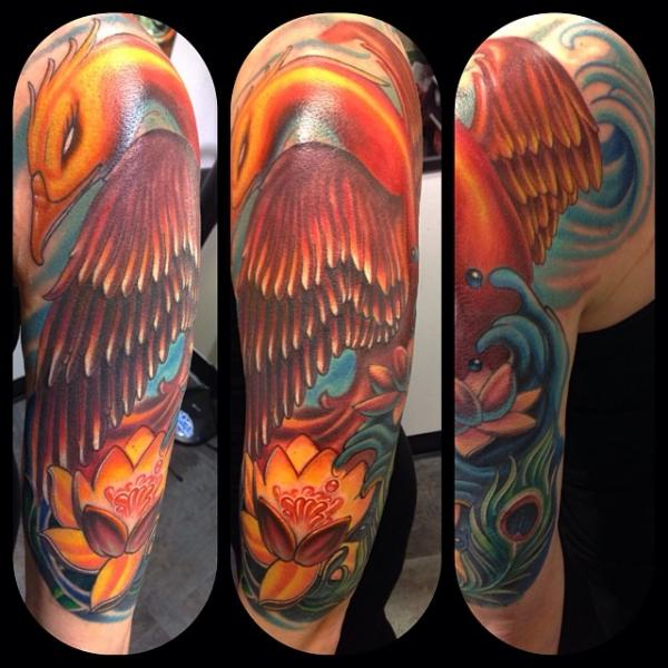 Bird and Lotus Flower tattoo by Mike Woods