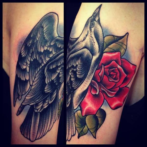 Bird and Rose tattoo by Sarah B Bolen