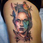 Bird on Head Forest Eye tattoo by Earth Gasper Tattoo