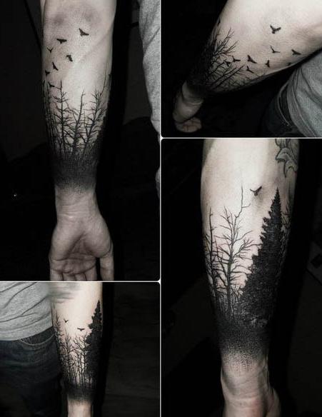 Birds Fly Away From Wood Blackwork tattoo