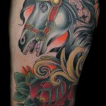 Black Horse New School tattoo by Three Kings Tattoo