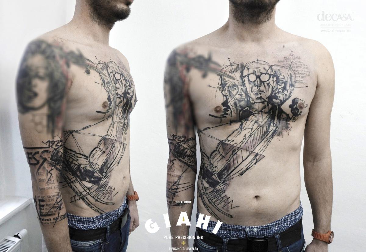Black Men Trash Polka tattoo by Carola  Deutsch