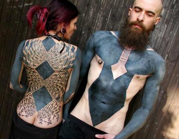 Black sleeves and rhombuses back blackwork tattoo best for Blackout tattoo back