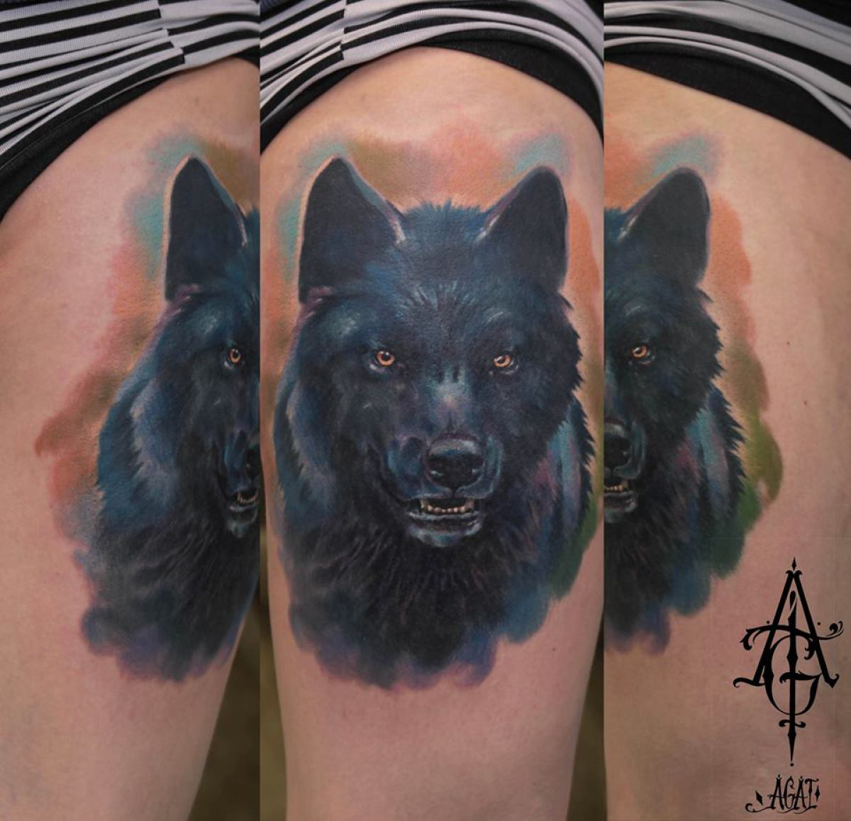 black wolf tattoo - photo #2