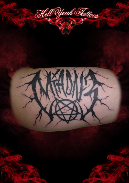 Blackwork Devil Lettering tattoo by Hellyeah Tattoos