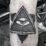 Blackwork Eye of Providence tattoo by Kolahari