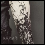 Blackwork Hellboy tattoo by Abra Black