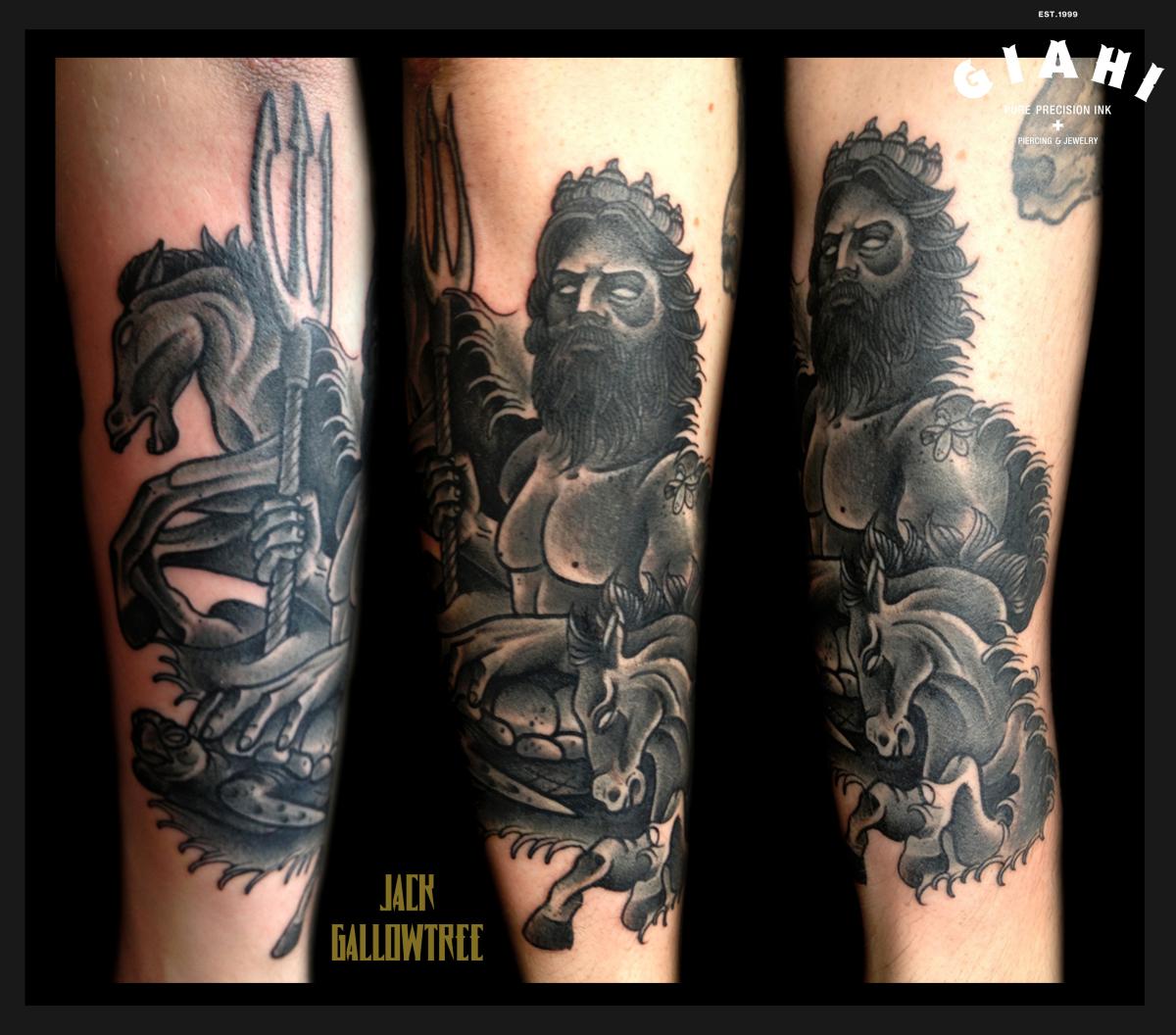 Blackwork Neptune tattoo by Jack Gallowtree