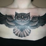 Blackwork Owl tattoo on Chest