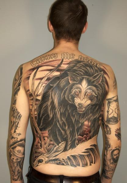 Blackwork Wolf upon Prey Carry Me Home Lettering tattoo