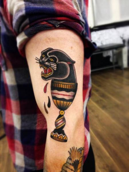 Blood drops panther in cup old school tattoo by matt for Blood drop tattoo
