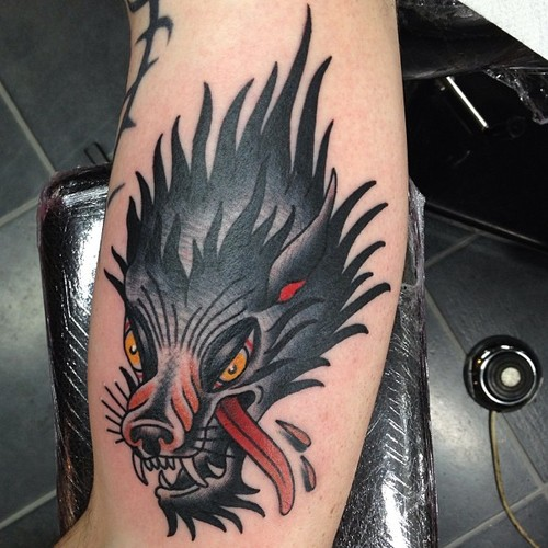 Blood Drops Warewolf tattoo by Nick Baldwin