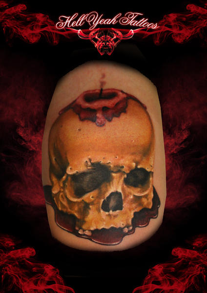 Blood Wax Candle Scull tattoo by Hellyeah Tattoos