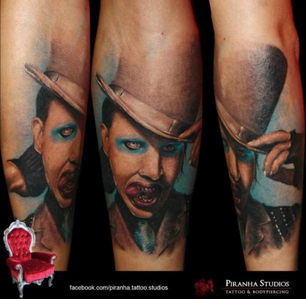 Blue Eyes Realistic Marlin Manson tattoo by Piranha Tattoo Supplies