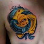 Blue Feather Rose tattoo by Andres Acosta