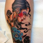 Blue Flower Old School Girl tattoo by Three Kings Tattoo