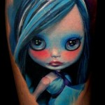 Blue Haired Cartoon Girl tattoo by Piranha Tattoo Supplies
