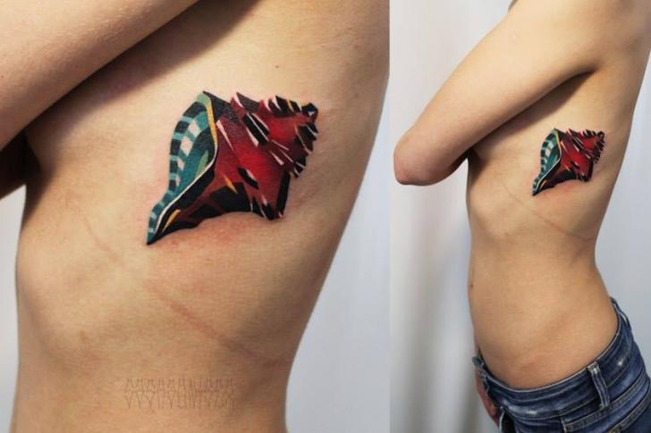 Body Side Abstract Shell tattoo by Sasha Unisex