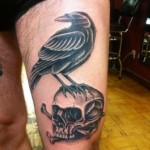 Bone Skull Raven Blackwork tattoo by Three Kings Tattoo