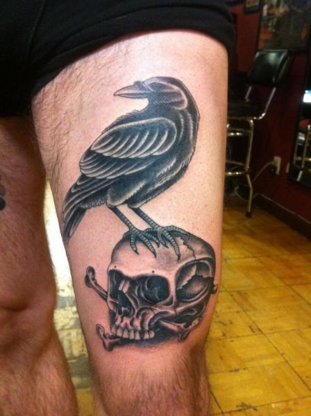 Bone Skull Raven Blackwork tattoo by Three Kings Tattoo